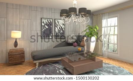Zero Gravity Sofa hovering in living room. 3D Illustration. #1500130202