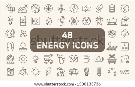 Set of 48 energy and ecology line style.  Contains such Icons as solar panels, oil, solar power, green energy, power socket, bulb, wind power generation, wind turbine and more. Royalty-Free Stock Photo #1500133736