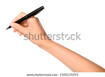 Young woman holding pen on white background, closeup Royalty-Free Stock Photo #1500135092