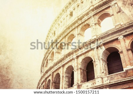 Colosseum in Rome. Italy. Edited as vintage photo with free place for your text on the left side.