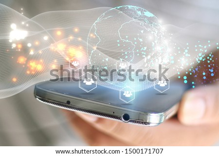 Hand using smartphone connecting, Social network concept  #1500171707