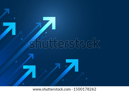 Up arrow on blue background illustration, copy space composition, business growth concept. Royalty-Free Stock Photo #1500178262