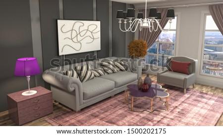 Interior of the living room. 3D illustration. #1500202175