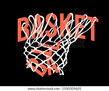 basketball slogan in hoop net illustration