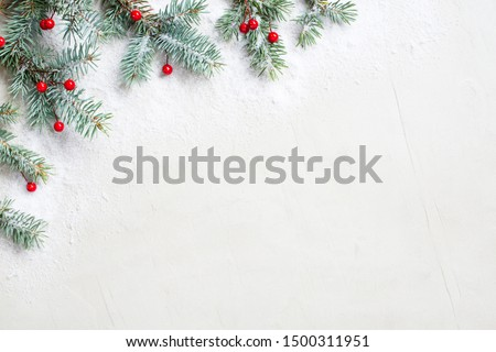 White Christmas background with Christmas tree branches and red berries, winter festive composition with copy space #1500311951