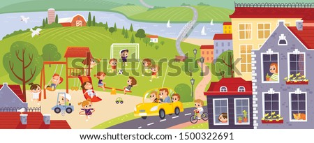 City with happy kids playing in the yard. Landscape with colorful european city, green fields, river. Kids summer activities outdoors. Green colorful city background. #1500322691
