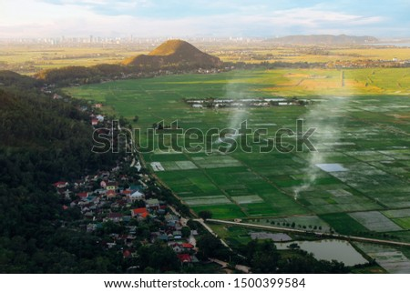 Beautiful aerial view from Lam Thanh  mountain, Nghe An, Viet Nam Royalty-Free Stock Photo #1500399584