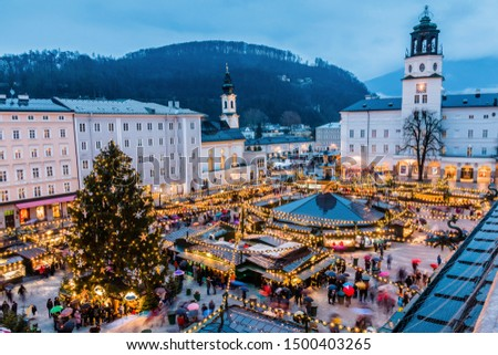 Salzburg, Austria. Christmas Market  in the old town of Salzburg.
