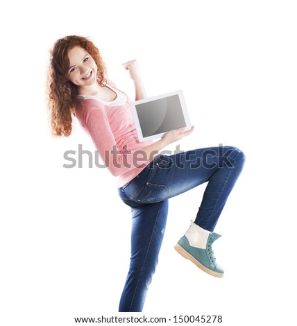 Woman with pc tablet is isolated on white background #150045278