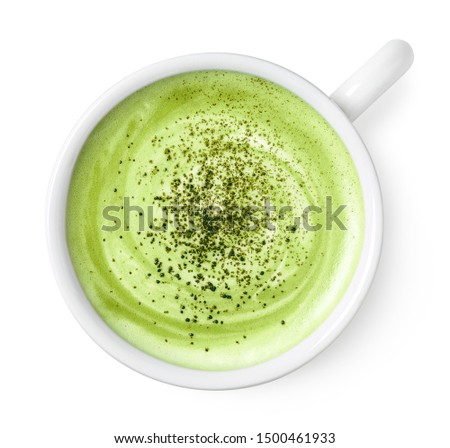 Cup of green tea matcha latte  isolated on white background, top view #1500461933