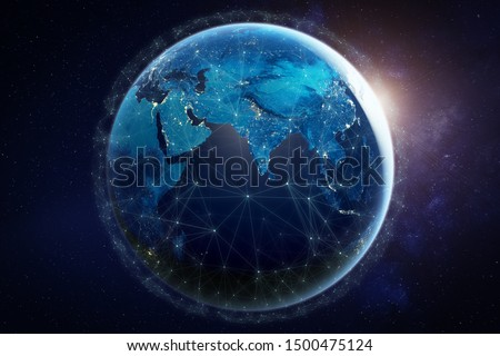 Internet network for fast data exchange around planet Earth from space, global telecommunication satellite grid over the world for IoT, mobile web, financial technology, 3d render, elements from NASA #1500475124