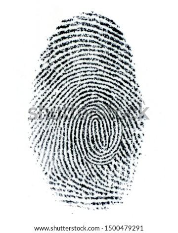 Finger Print on white Paper. Black and White. #1500479291