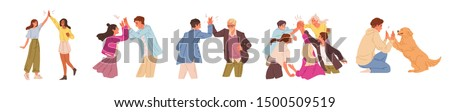 Informal greeting flat vector illustrations set. Happy people giving high five isolated on white background. Cheerful friends and colleagues cartoon characters pack. Happiness, joy expression. #1500509519
