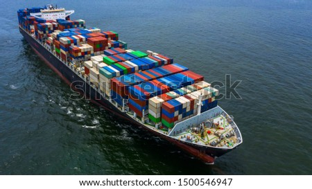 Container ship carrying container for business freight shipping import and export, Aerial view container ship arriving in commercial port. #1500546947