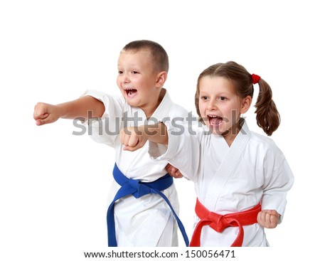 Small children in kimono beat a punch hand on a white background #150056471