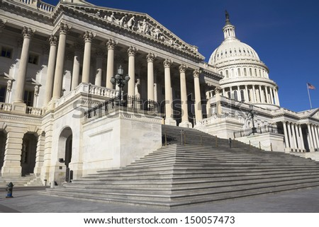 Capitol, located in Washington, DC, is the building in which the US Congress meets. It is at the east end of the National Mall #150057473
