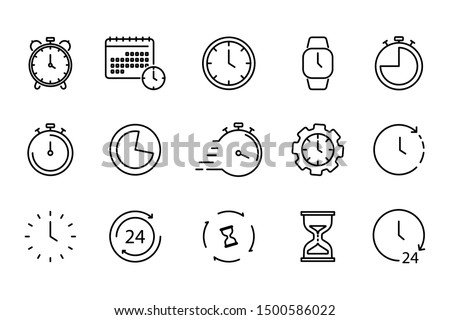 Time and Clock set of linear icons. Time management. Timer, Speed, Alarm, Restore, Time Management, Calendar and more. Collection of time, clock, watch, timer vector simple outline icons for web #1500586022