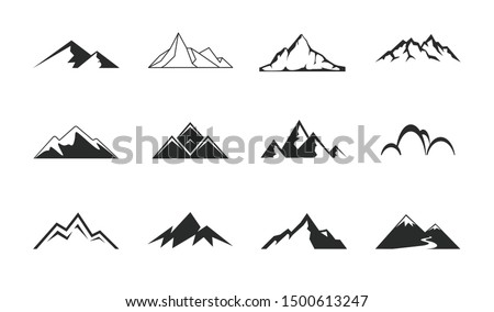 Mountains, rocks and peaks. Tibet or  Alps peaks.  Mountaineer hiking vector icons set.