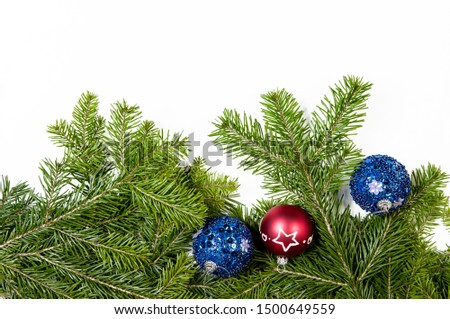 Christmas background. Christmas fir tree with decoration on white background. Top view, copy space #1500649559