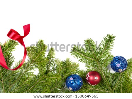 Christmas background. Christmas fir tree with decoration on white background. Top view, copy space #1500649565