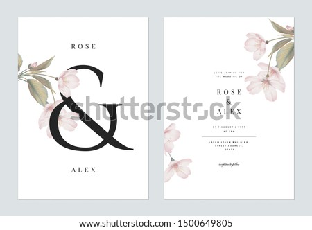 Floral wedding invitation card template design, Somei Yoshino sakura flowers with leaves with ampersand lettering on white, pastel vintage theme #1500649805