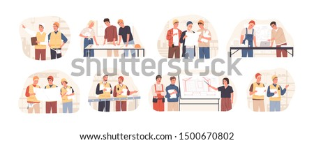 Builders and architects flat vector illustrations set. Architectural project planning, development and approval. Building industry concept. Professional contractors and engineers cartoon characters. Royalty-Free Stock Photo #1500670802