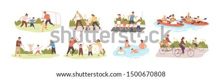 Family activities flat vector illustrations set. Happy childhood, active recreation. Happy parents and children cartoon characters pack. Outdoor games, football, roller skating, jogging and cycling. #1500670808