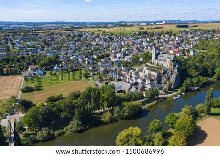 View of Dietkirchen / Germany on the Lahn with the Lubentiuskirche #1500686996