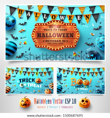Set of Halloween Posters with pumpkin and Scary air balloons.Website spooky,Background or banner Halloween template.Vector illustration EPS10 #1500687695