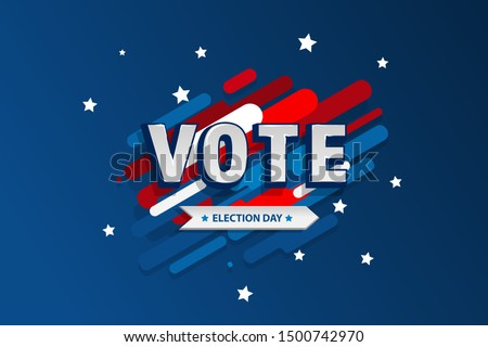 American motion background election day. Usa debate of president voting 2020. Election voting poster. Vote 2020 in USA, banner design.  Political election campaign. Flyer vector blue red white logo #1500742970