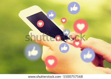Young man using smart phone,Social media concept.          - Image #1500757568
