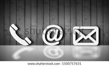 Close-up Of Various White Contact Options Leaning On Wooden Wall          - Image Royalty-Free Stock Photo #1500757631