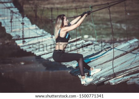 Young fitness woman. Fitness sport girl in fashion sportswear. Attractive fitness woman, trained female body, lifestyle portrait, caucasian model #1500771341