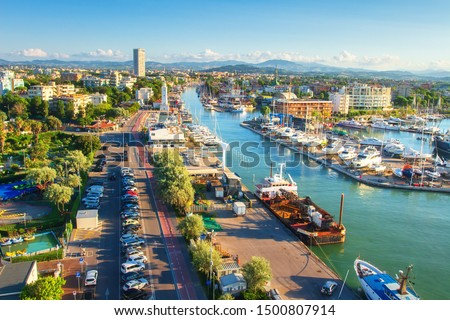 Rimini, Italy. Aerial view on Rimini. Italian cityscape from above. Lighthouse on water sea canal. Rimini city. Summer vacation #1500807914