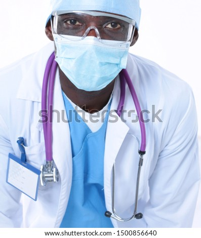Male surgeon doctor in scrubs uniform with medical stethoscope #1500856640