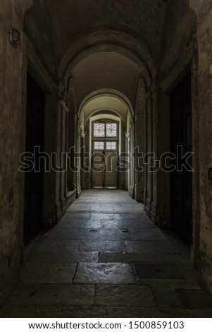 stone arched corridor constructed from white stones and the door in the end of tunnel with Shadows and Light. dark hallway with light through the windows, stone passageway, medieval architecture #1500859103
