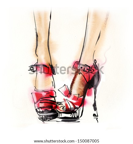 Shoes. Hand painted fashion illustration