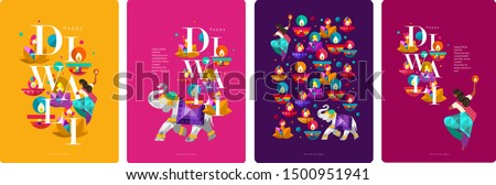 Happy Diwali. Indian festival of lights. Vector abstract flat illustration for the holiday, lights, elephant, Indian woman and other objects for background or poster.    #1500951941