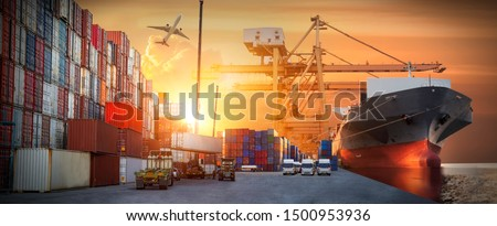 Industrial Container Cargo freight ship, forklift handling container box loading for logistic import export and transport industry concept background #1500953936