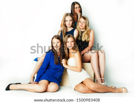 many girlfriends hugging celebration on white background, smiling talking chat closeup, lifestyle people concept #1500983408