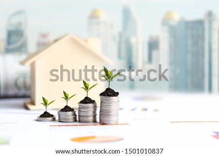Investor of real estate.  The plants growing on money coin stack for investment home,  business newspaper with financial report on desk city background.  Investment property growth Concept #1501010837