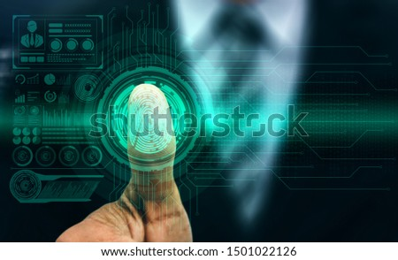 Fingerprint Biometric Digital Scan Technology. Graphic interface showing man finger with print scanning identification. Concept of digital security and private data access by use fingerprint scanner. #1501022126