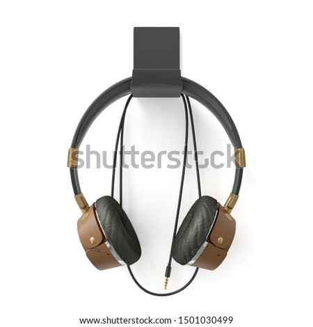 Vintage headphones isolated with clipping path on white background. 3D Render.