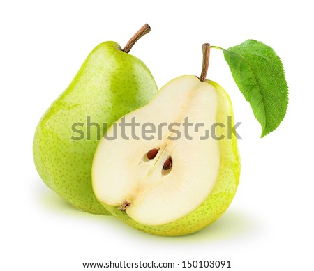 Isolated pears. One and a half yellow and green pear fruits isolated on white background Royalty-Free Stock Photo #150103091
