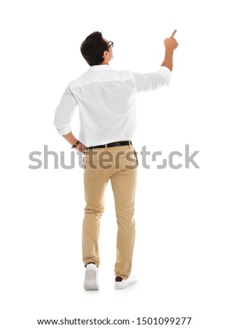 Professional business trainer pointing on something, white background #1501099277