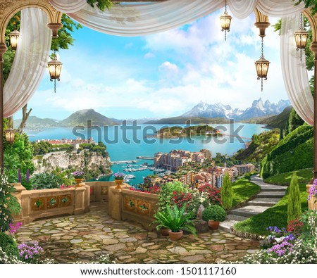 View from the balcony on the coast of Italy with white curtains, lanterns and a beautiful garden. Digital fresco. Wallpaper. #1501117160