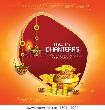 innovative abstract, banner or poster for Dhanteras with Goddess Maa Lakshmi / with Gold coin in pot for Indian dhanteras and diwali festival celebration #1501119224