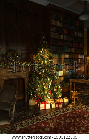Merry Christmas. Christmas tree with beautiful balls in brown interior. room in classic style. Christmas decor #1501122305