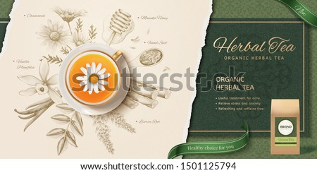 3d illustration herbal tea in top view perspective, engraving style herbs ingredients background Royalty-Free Stock Photo #1501125794