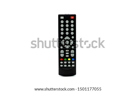Remote control flat. Remote for TV or media center. Device for films cinema video. Leisure at home. Isolated on white background. Buttons to control player #1501177055